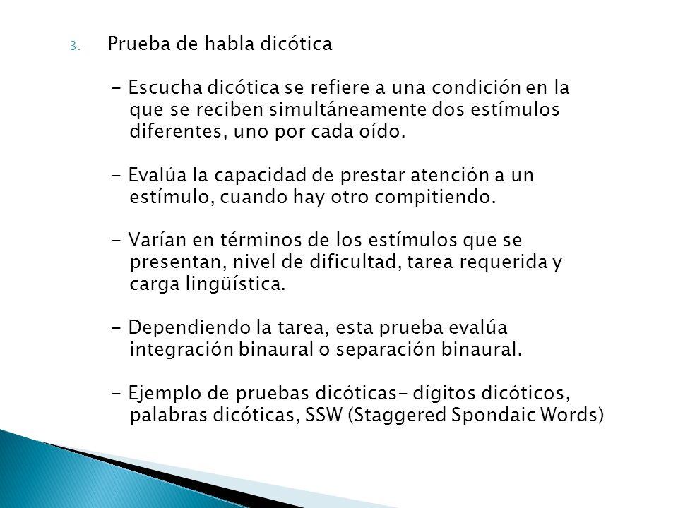 3. Prueba de habla dicótica - Escucha dicótica se refiere a una condición en la que se reciben simultáneamente dos estímulos diferentes, uno por cada