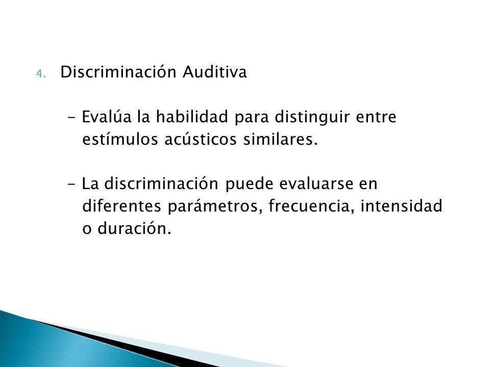 4. Discriminación Auditiva - Evalúa la habilidad para distinguir entre estímulos acústicos similares. - La discriminación puede evaluarse en diferente