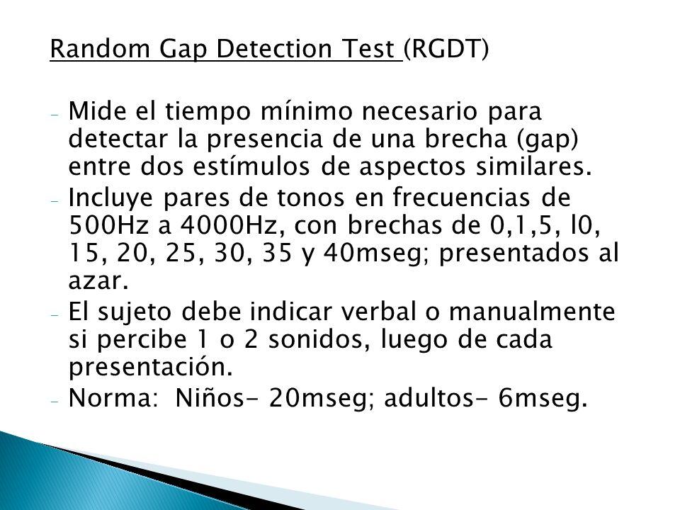 Random Gap Detection Test (RGDT) - Mide el tiempo mínimo necesario para detectar la presencia de una brecha (gap) entre dos estímulos de aspectos simi