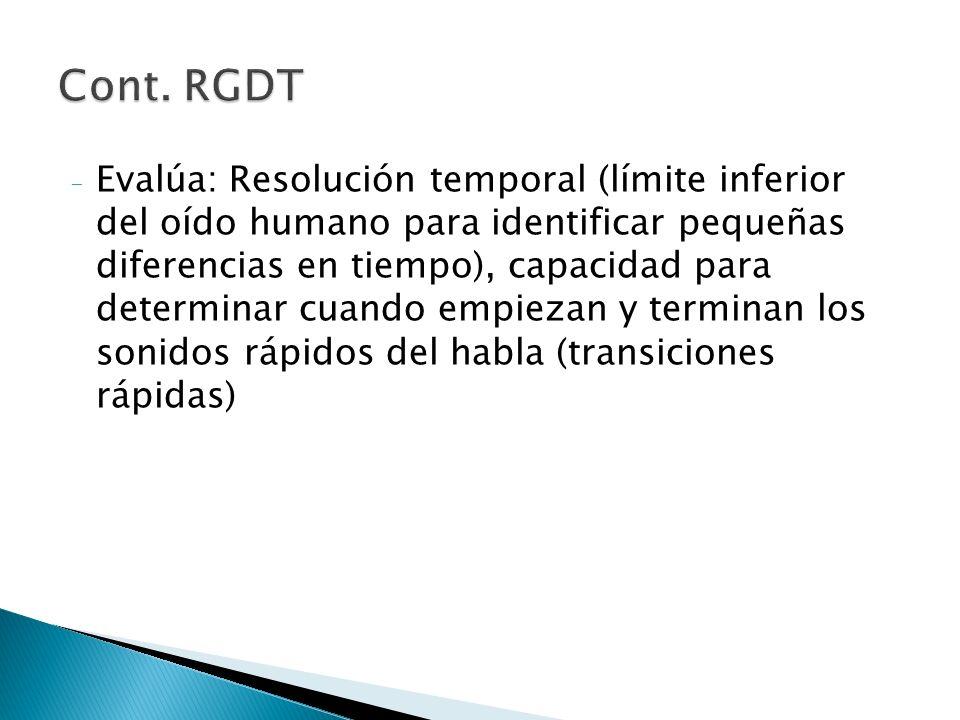- Evalúa: Resolución temporal (límite inferior del oído humano para identificar pequeñas diferencias en tiempo), capacidad para determinar cuando empi