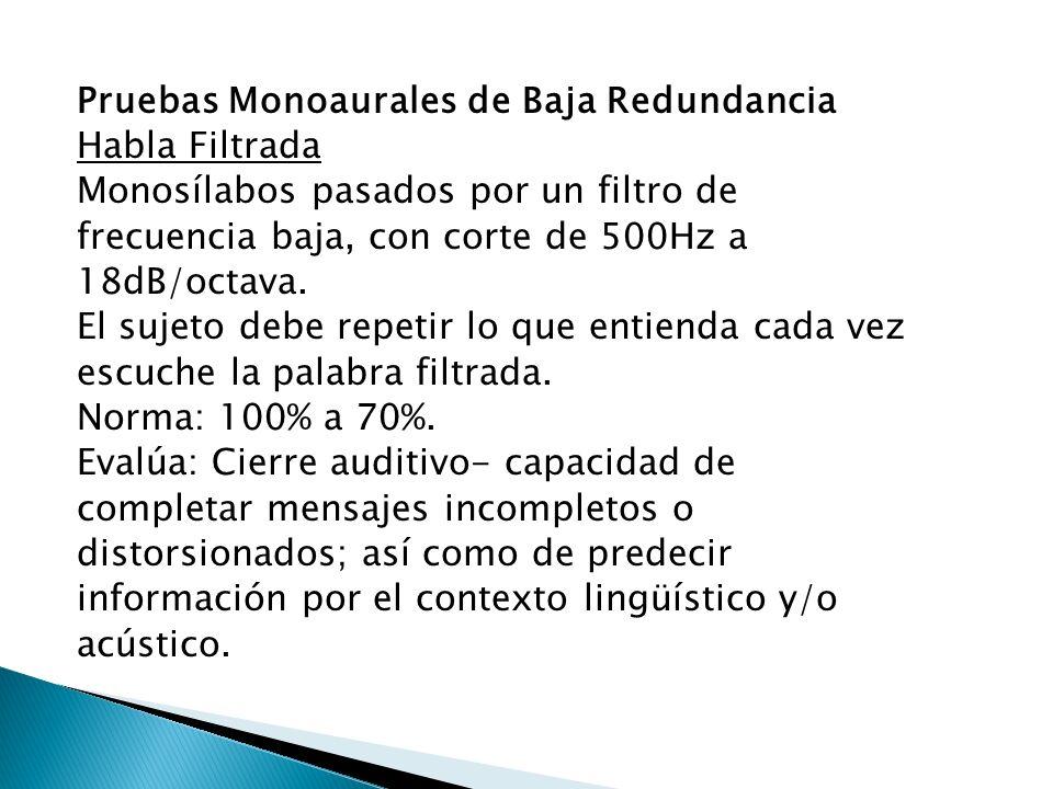 Pruebas Monoaurales de Baja Redundancia Habla Filtrada Monosílabos pasados por un filtro de frecuencia baja, con corte de 500Hz a 18dB/octava. El suje
