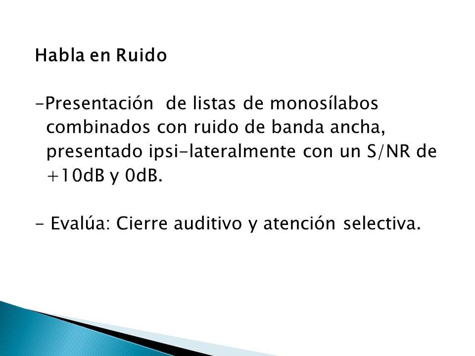 Habla en Ruido -Presentación de listas de monosílabos combinados con ruido de banda ancha, presentado ipsi-lateralmente con un S/NR de +10dB y 0dB. -