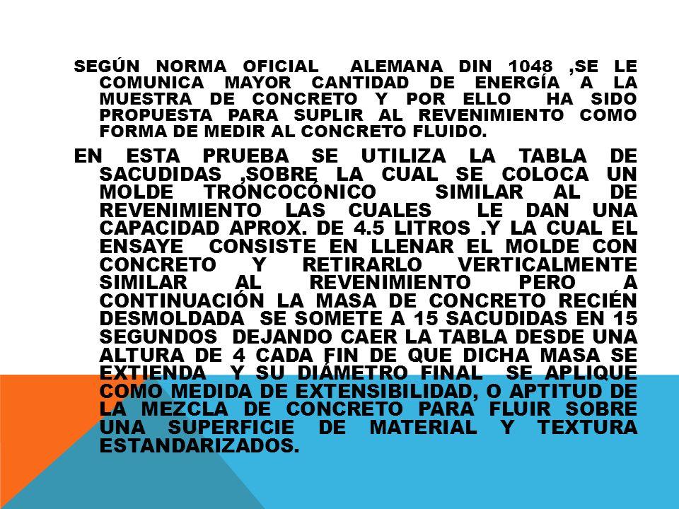 SEGÚN NORMA OFICIAL ALEMANA DIN 1048,SE LE COMUNICA MAYOR CANTIDAD DE ENERGÍA A LA MUESTRA DE CONCRETO Y POR ELLO HA SIDO PROPUESTA PARA SUPLIR AL REVENIMIENTO COMO FORMA DE MEDIR AL CONCRETO FLUIDO.