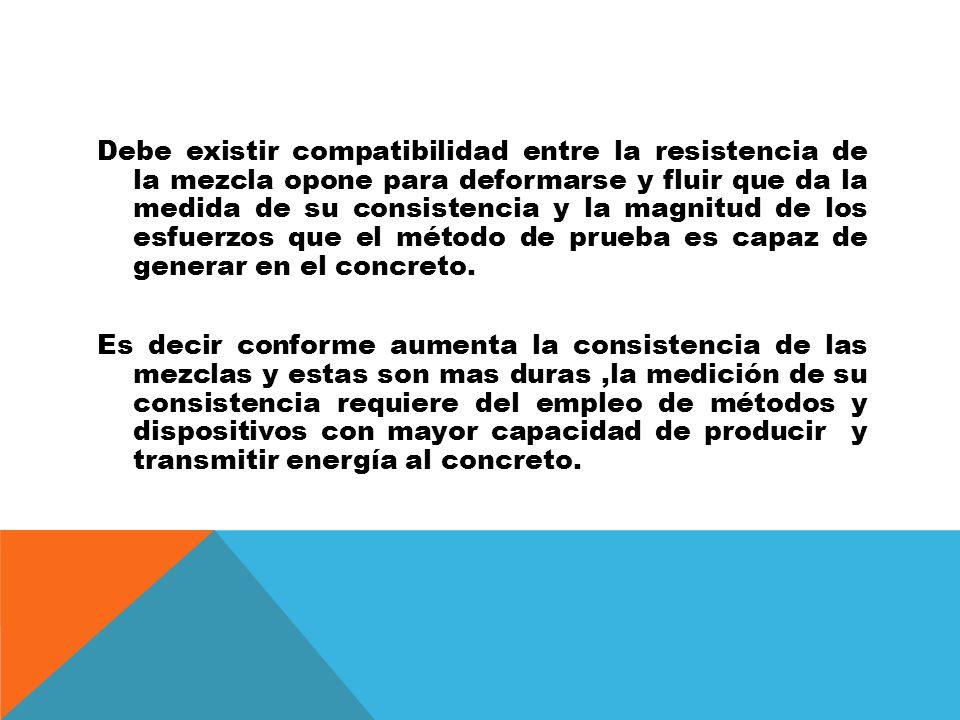 Debe existir compatibilidad entre la resistencia de la mezcla opone para deformarse y fluir que da la medida de su consistencia y la magnitud de los esfuerzos que el método de prueba es capaz de generar en el concreto.