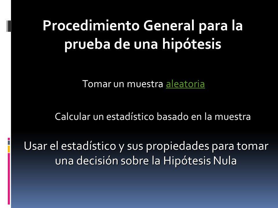 Procedimiento General para la prueba de una hipótesis Tomar un muestra aleatoria Calcular un estadístico basado en la muestra Usar el estadístico y su
