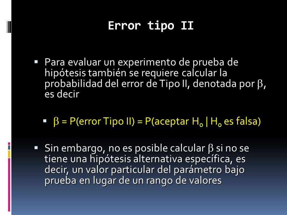 Error tipo II Para evaluar un experimento de prueba de hipótesis también se requiere calcular la probabilidad del error de Tipo II, denotada por, es d