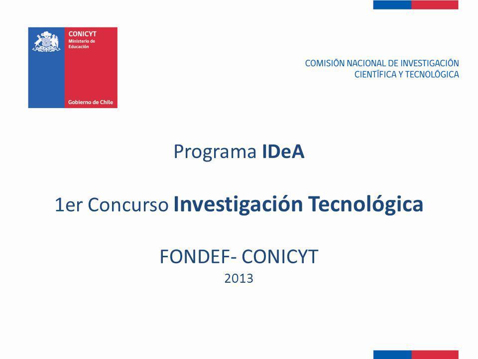 Programa Fondef Regional Programas Temáticos (-) tamaño (+) Top-down Bottom-up o Genoma Chile o TIC-Edu o Acuicultura Mundial (HUAM) o Marea Roja o Diversificación Acuicultura (PDACH) o Bioenergía o Alimentos Funcionales Programa VIU Programa IDeA FONDEF Y SUS PROGRAMAS
