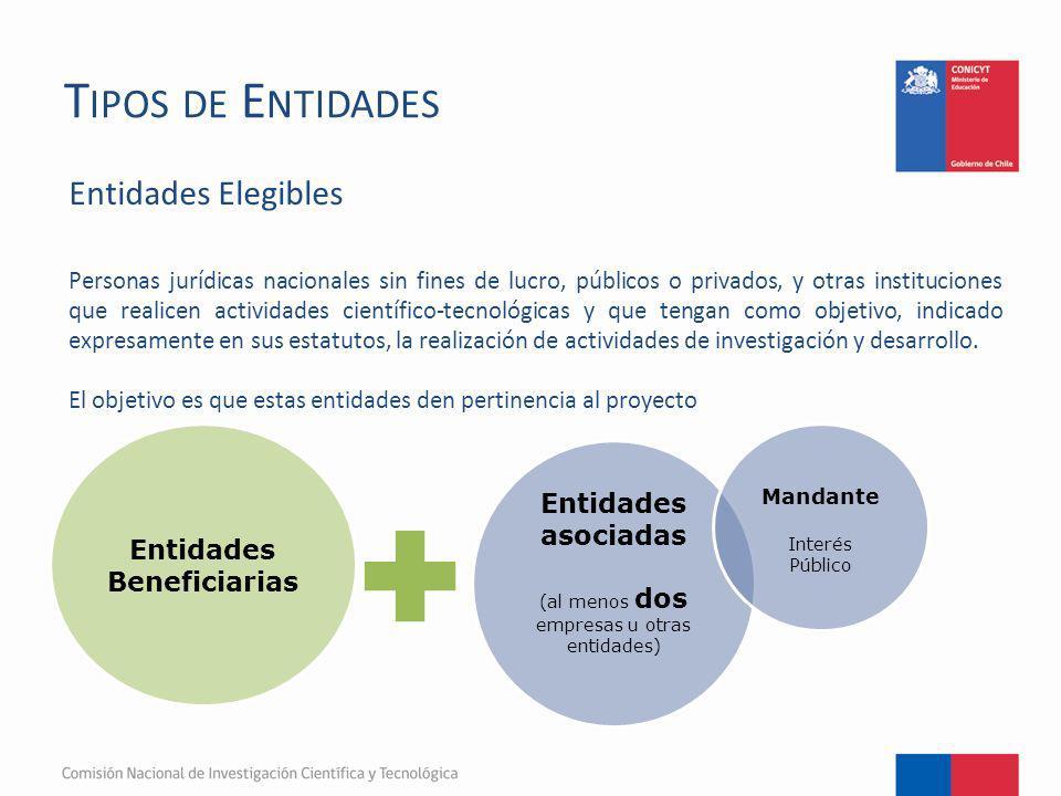 T IPOS DE E NTIDADES Entidades Elegibles Personas jurídicas nacionales sin fines de lucro, públicos o privados, y otras instituciones que realicen act