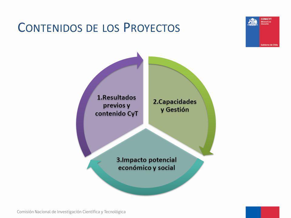 C ONTENIDOS DE LOS P ROYECTOS 2.Capacidades y Gestión 3.Impacto potencial económico y social 1.Resultados previos y contenido CyT