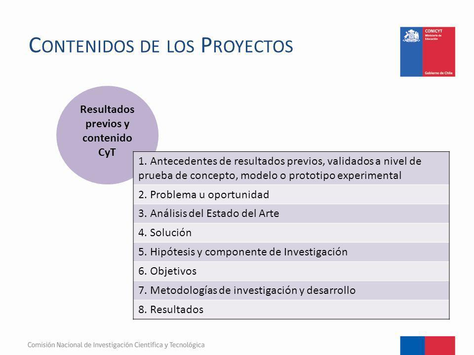 C ONTENIDOS DE LOS P ROYECTOS Resultados previos y contenido CyT 1. Antecedentes de resultados previos, validados a nivel de prueba de concepto, model