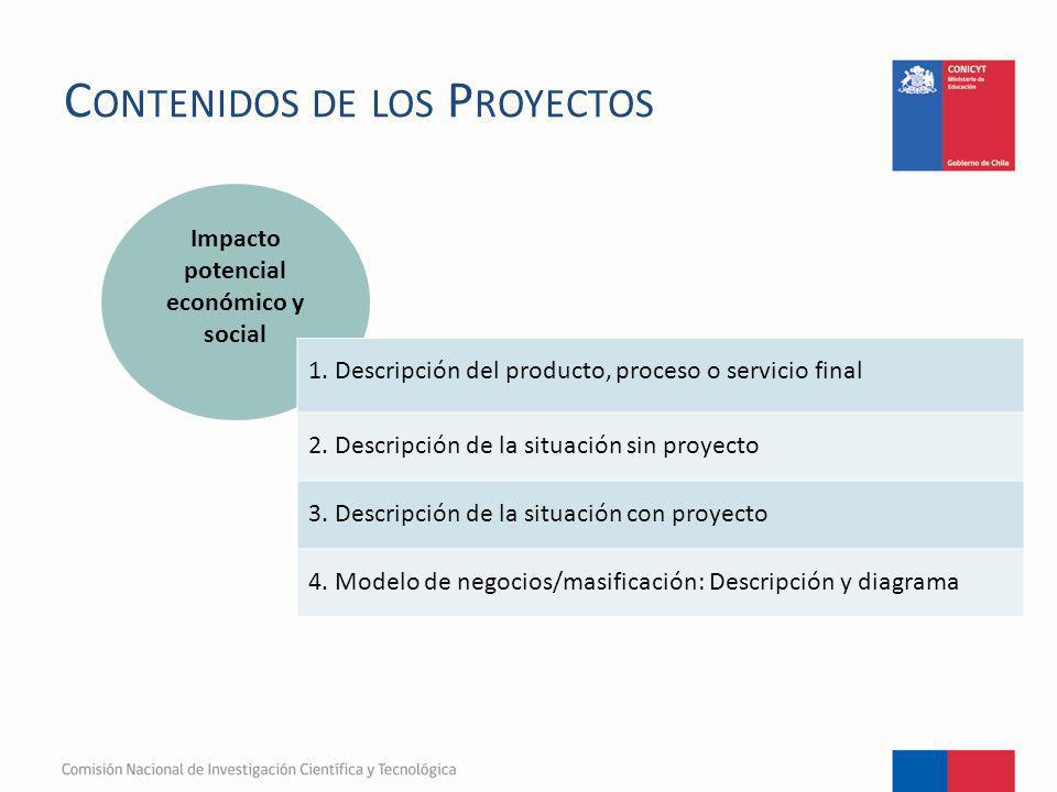 C ONTENIDOS DE LOS P ROYECTOS Impacto potencial económico y social 1. Descripción del producto, proceso o servicio final 2. Descripción de la situació