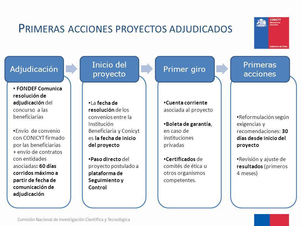 P RIMERAS ACCIONES PROYECTOS ADJUDICADOS FONDEF Comunica resolución de adjudicación del concurso a las beneficiarias Envío de convenio con CONICYT fir