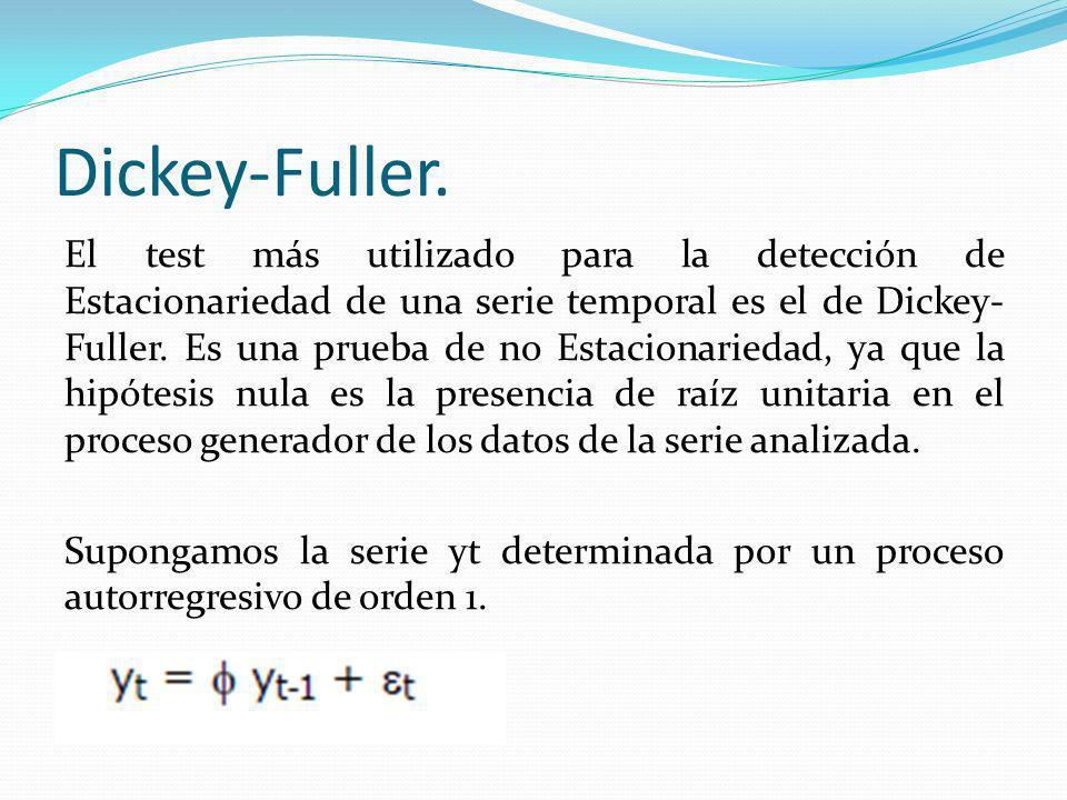 Dickey-Fuller. El test más utilizado para la detección de Estacionariedad de una serie temporal es el de Dickey- Fuller. Es una prueba de no Estaciona