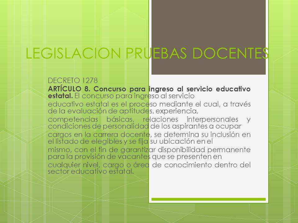 LEGISLACION PRUEBAS DOCENTES DECRETO 1278 ARTÍCULO 8. Concurso para ingreso al servicio educativo estatal. El concurso para ingreso al servicio educat