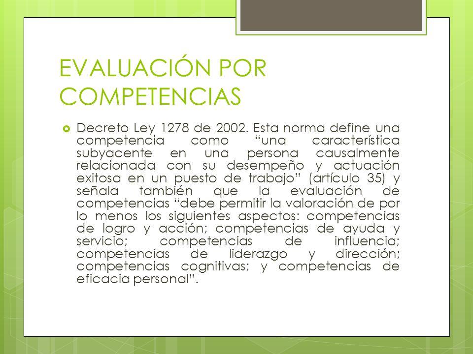 EVALUACIÓN POR COMPETENCIAS Decreto Ley 1278 de 2002. Esta norma define una competencia como una característica subyacente en una persona causalmente