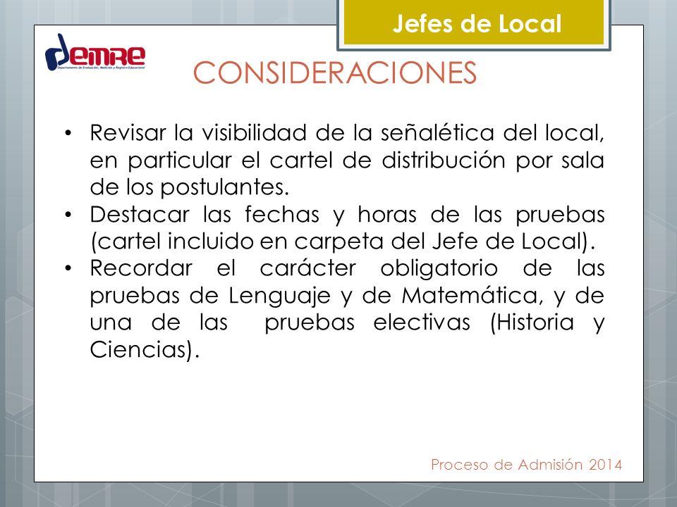 Jefes de Local CONSIDERACIONES Revisar la visibilidad de la señalética del local, en particular el cartel de distribución por sala de los postulantes.