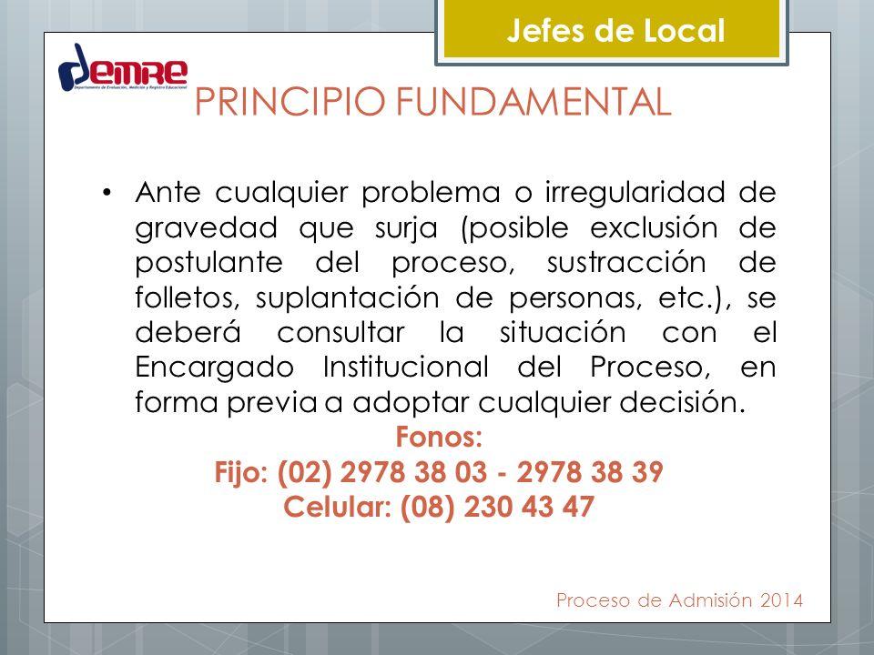 Jefes de Local PRINCIPIO FUNDAMENTAL Ante cualquier problema o irregularidad de gravedad que surja (posible exclusión de postulante del proceso, sustr