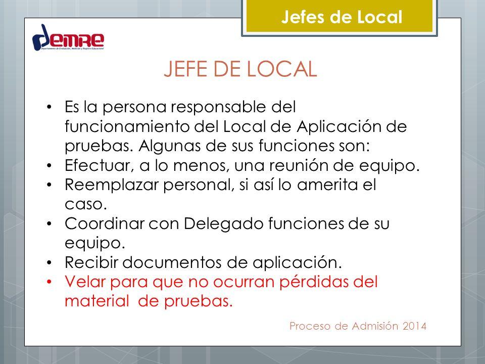 Proceso de Admisión 2014 Jefes de Local JEFE DE LOCAL Es la persona responsable del funcionamiento del Local de Aplicación de pruebas. Algunas de sus