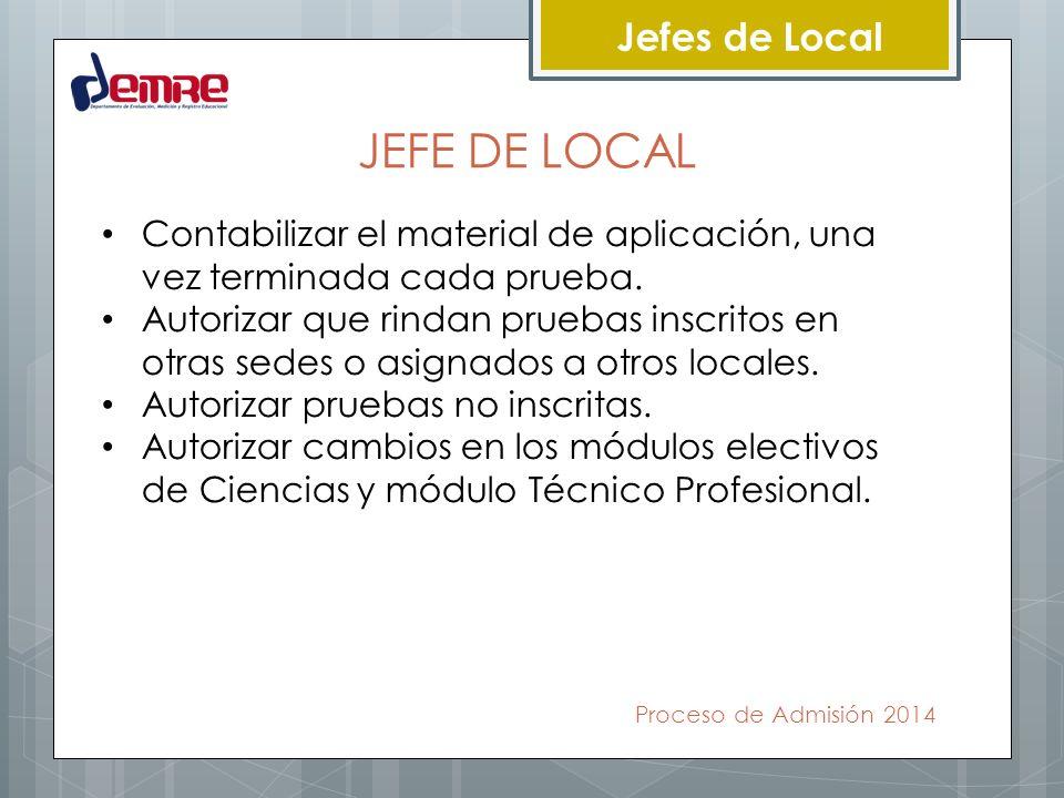 Proceso de Admisión 2014 Jefes de Local COORDINADOR TÉCNICO Su obligación esencial es recibir, custodiar, distribuir y controlar el material de aplicación de pruebas.