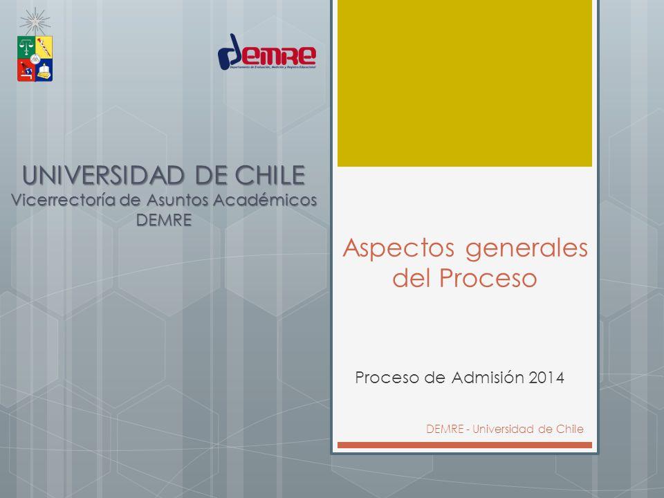 Aspectos generales del Proceso Proceso de Admisión 2014 DEMRE - Universidad de Chile UNIVERSIDAD DE CHILE Vicerrectoría de Asuntos Académicos DEMRE