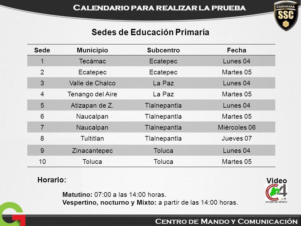 Centro de Mando y Comunicación Calendario para realizar la prueba Video Sedes de Educación Primaria SedeMunicipioSubcentroFecha 1TecámacEcatepecLunes