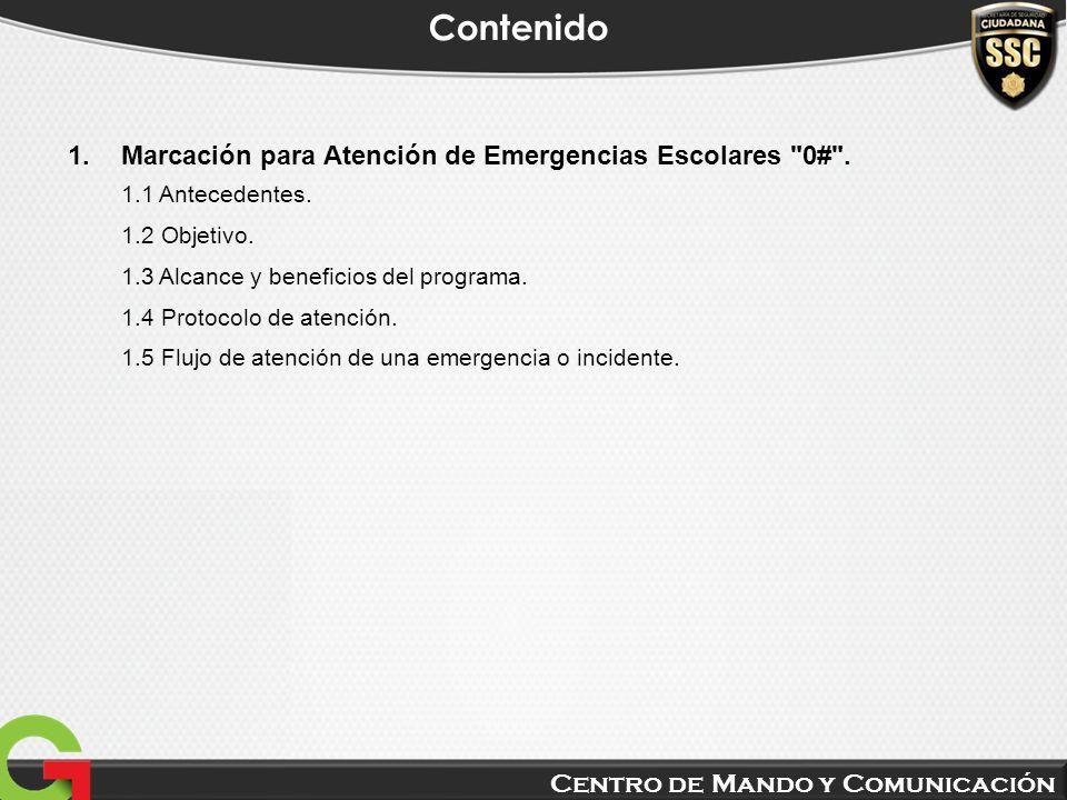 Centro de Mando y Comunicación Contenido 1.Marcación para Atención de Emergencias Escolares
