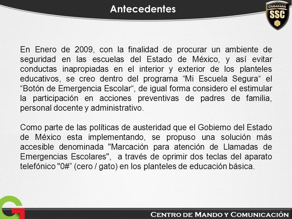 Centro de Mando y Comunicación Antecedentes En Enero de 2009, con la finalidad de procurar un ambiente de seguridad en las escuelas del Estado de Méxi