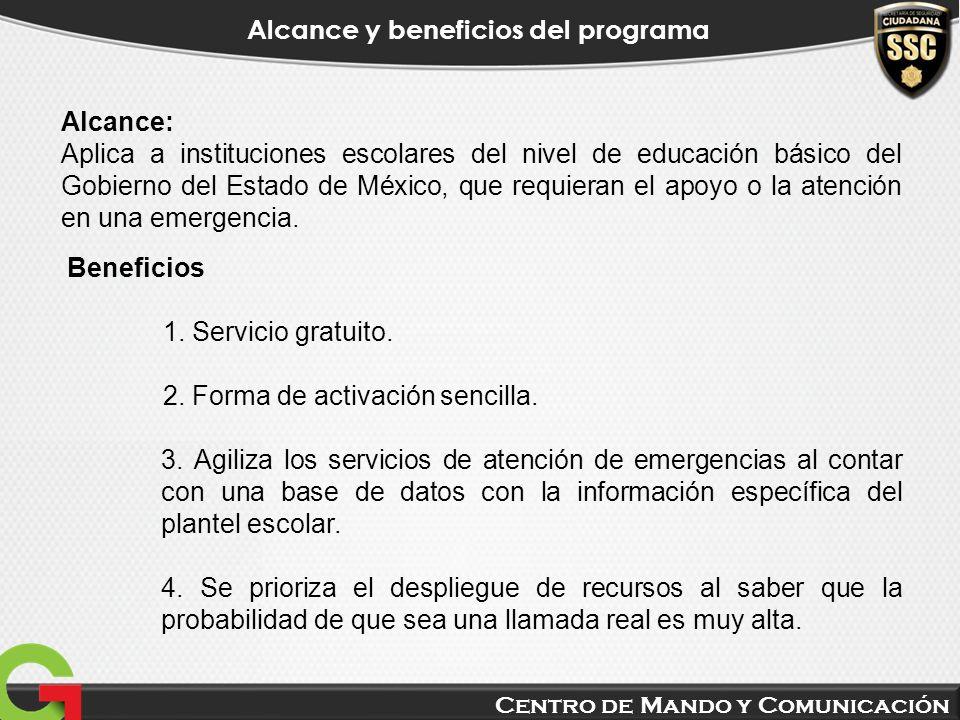 Centro de Mando y Comunicación Alcance y beneficios del programa Beneficios 1. Servicio gratuito. 2. Forma de activación sencilla. 3. Agiliza los serv