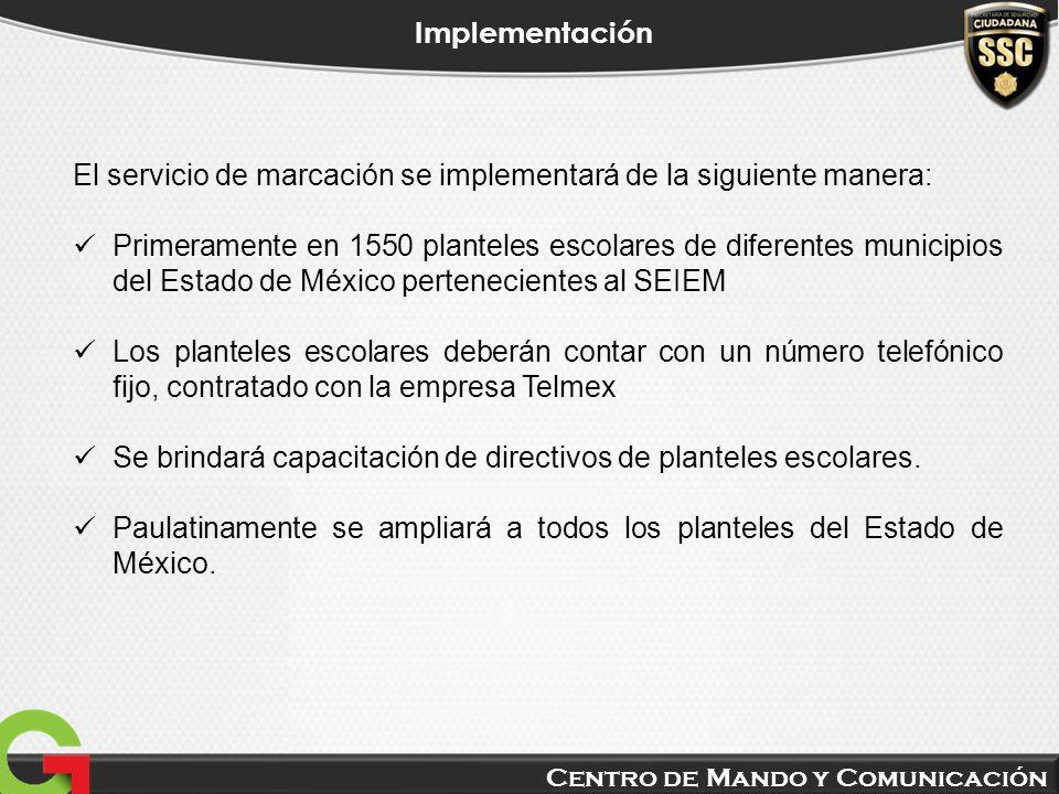 Centro de Mando y Comunicación Implementación El servicio de marcación se implementará de la siguiente manera: Primeramente en 1550 planteles escolare