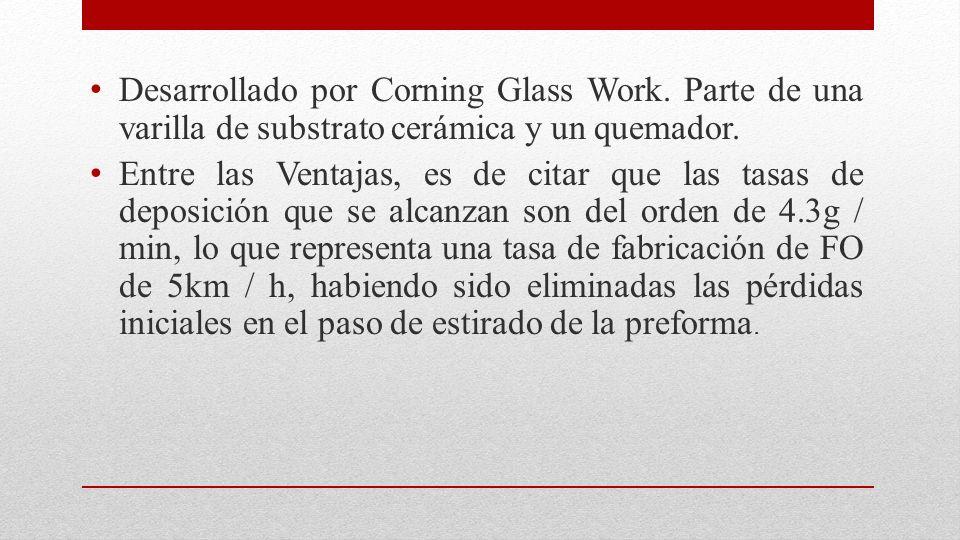 Desarrollado por Corning Glass Work. Parte de una varilla de substrato cerámica y un quemador. Entre las Ventajas, es de citar que las tasas de deposi