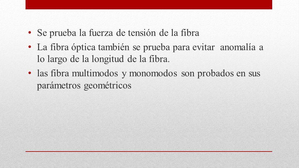 Se prueba la fuerza de tensión de la fibra La fibra óptica también se prueba para evitar anomalía a lo largo de la longitud de la fibra. las fibra mul