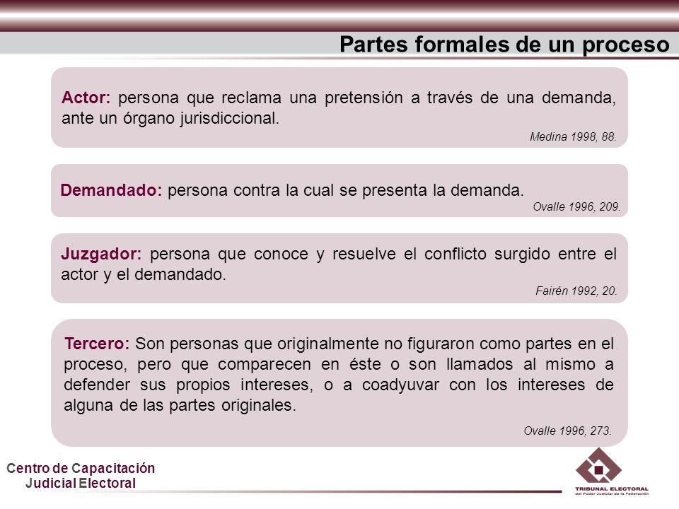 Centro de Capacitación Judicial Electoral Partes formales de un proceso Juzgador: persona que conoce y resuelve el conflicto surgido entre el actor y