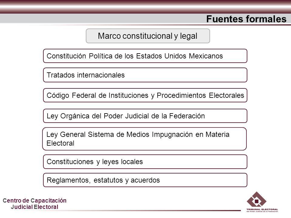 Centro de Capacitación Judicial Electoral Constitución Política de los Estados Unidos Mexicanos Tratados internacionales Ley Orgánica del Poder Judici