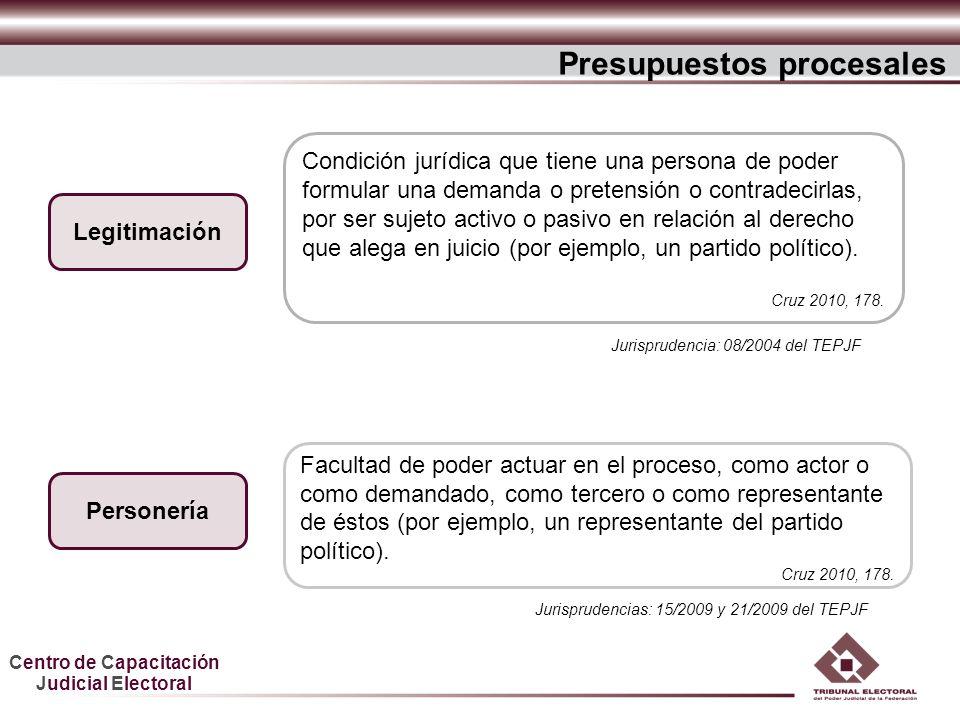 Centro de Capacitación Judicial Electoral Condición jurídica que tiene una persona de poder formular una demanda o pretensión o contradecirlas, por se