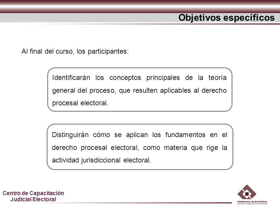 Centro de Capacitación Judicial Electoral Objetivos específicos Identificarán los conceptos principales de la teoría general del proceso, que resulten