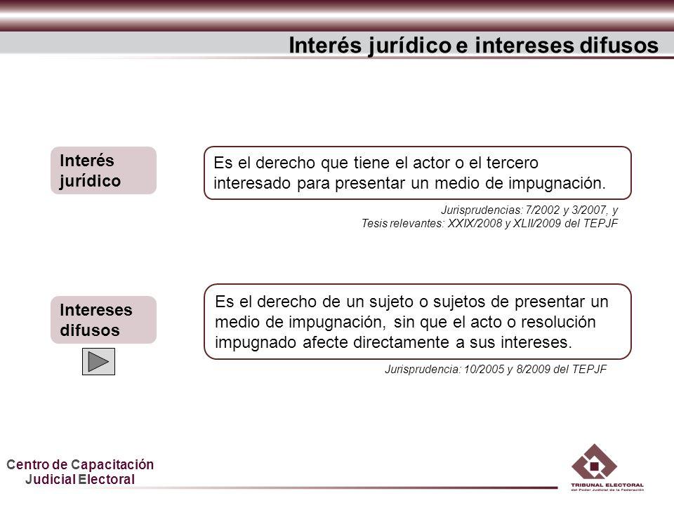 Centro de Capacitación Judicial Electoral Es el derecho que tiene el actor o el tercero interesado para presentar un medio de impugnación. Interés jur