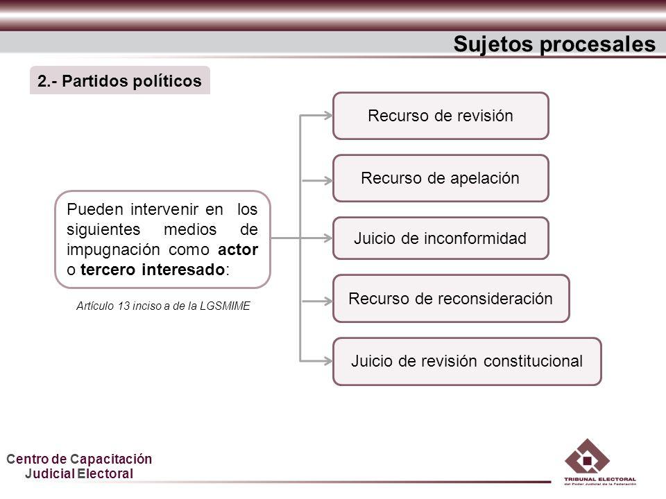 Centro de Capacitación Judicial Electoral Pueden intervenir en los siguientes medios de impugnación como actor o tercero interesado: Juicio de inconfo