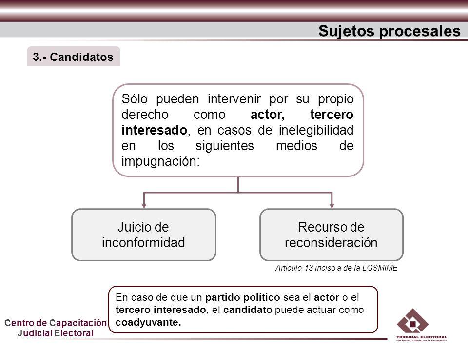 Centro de Capacitación Judicial Electoral Sujetos procesales Juicio de inconformidad Recurso de reconsideración Sólo pueden intervenir por su propio d