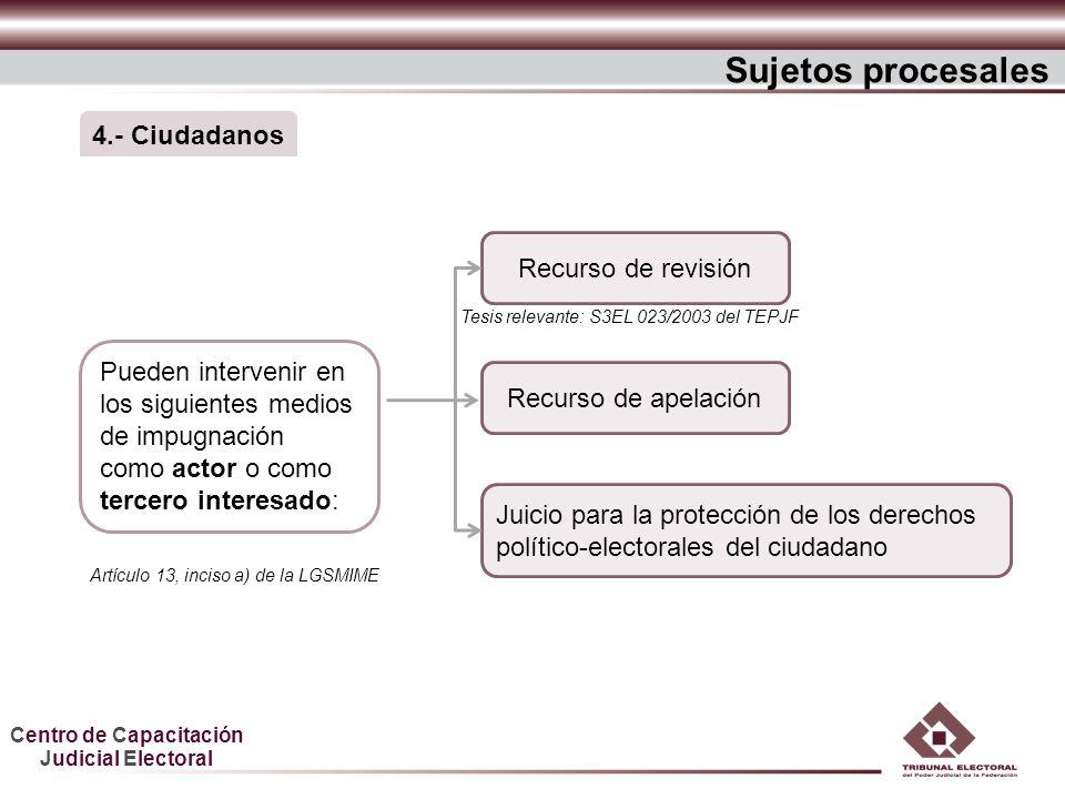 Centro de Capacitación Judicial Electoral Sujetos procesales Recurso de apelación Juicio para la protección de los derechos político-electorales del c