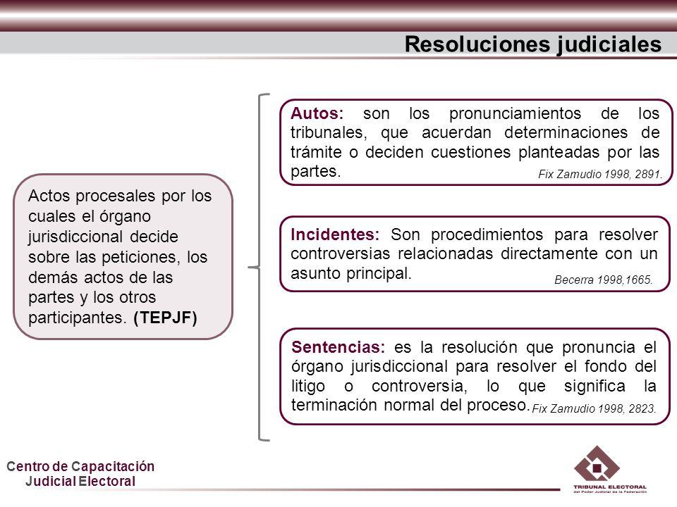 Centro de Capacitación Judicial Electoral Resoluciones judiciales Actos procesales por los cuales el órgano jurisdiccional decide sobre las peticiones