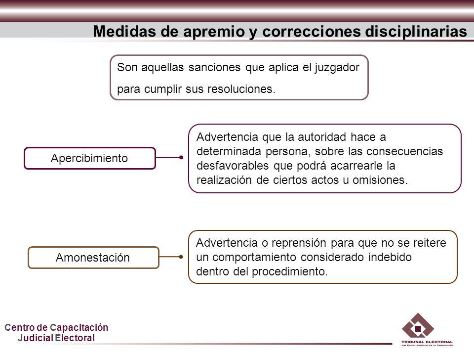 Centro de Capacitación Judicial Electoral Advertencia o reprensión para que no se reitere un comportamiento considerado indebido dentro del procedimie