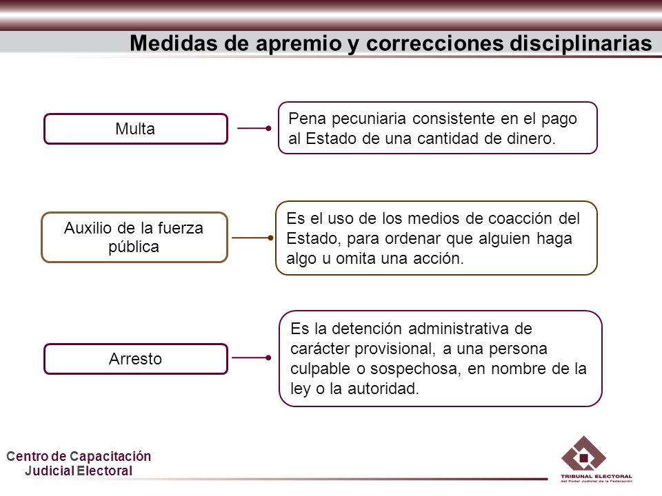 Centro de Capacitación Judicial Electoral Medidas de apremio y correcciones disciplinarias Auxilio de la fuerza pública Es la detención administrativa