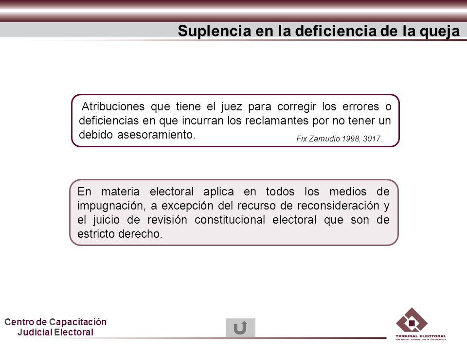Centro de Capacitación Judicial Electoral Atribuciones que tiene el juez para corregir los errores o deficiencias en que incurran los reclamantes por