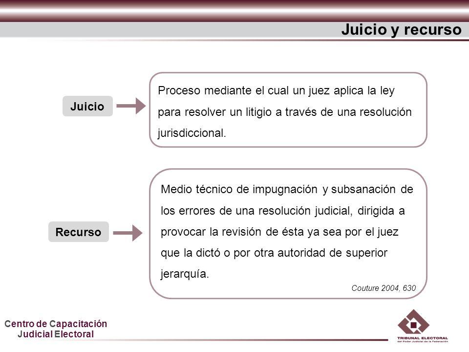 Centro de Capacitación Judicial Electoral Juicio y recurso Juicio Proceso mediante el cual un juez aplica la ley para resolver un litigio a través de