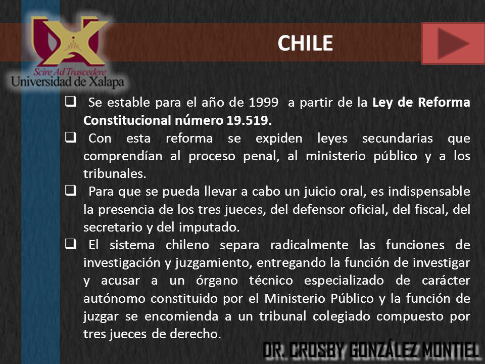 CHILE Se estable para el año de 1999 a partir de la Ley de Reforma Constitucional número 19.519. Con esta reforma se expiden leyes secundarias que com