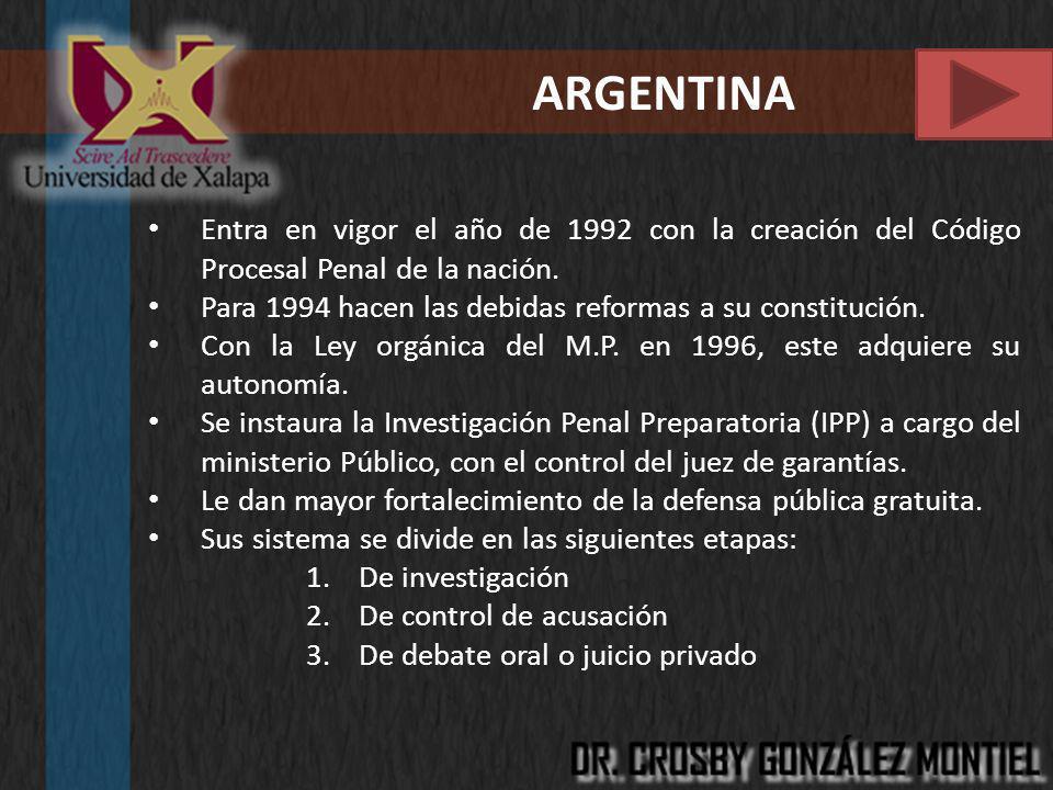 ARGENTINA Entra en vigor el año de 1992 con la creación del Código Procesal Penal de la nación. Para 1994 hacen las debidas reformas a su constitución