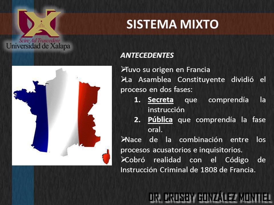 SISTEMA MIXTO ANTECEDENTES Tuvo su origen en Francia La Asamblea Constituyente dividió el proceso en dos fases: 1.Secreta que comprendía la instrucció