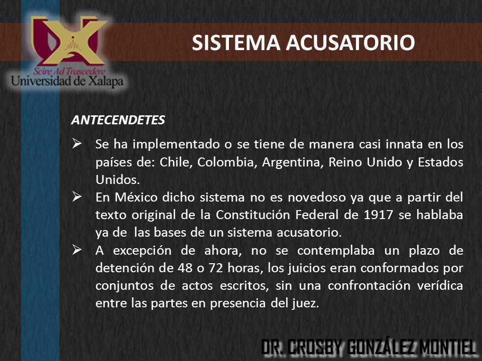 SISTEMA ACUSATORIO ANTECENDETES Se ha implementado o se tiene de manera casi innata en los países de: Chile, Colombia, Argentina, Reino Unido y Estado