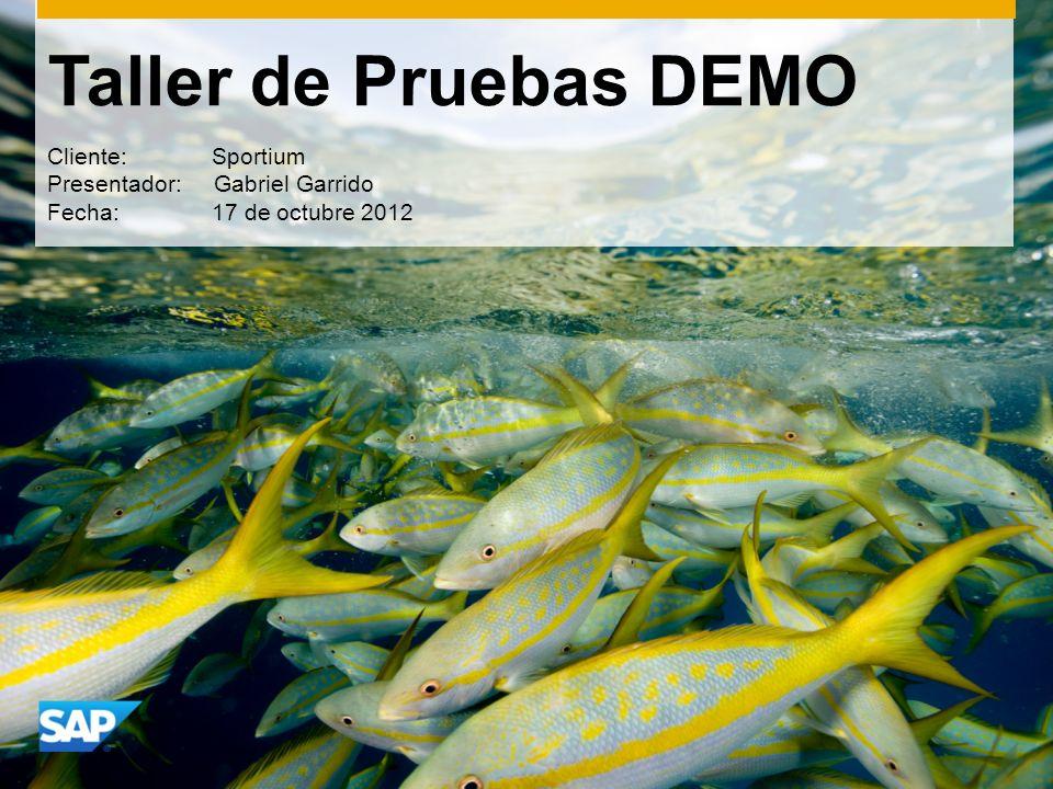 Taller de Pruebas DEMO Cliente: Sportium Presentador: Gabriel Garrido Fecha: 17 de octubre 2012
