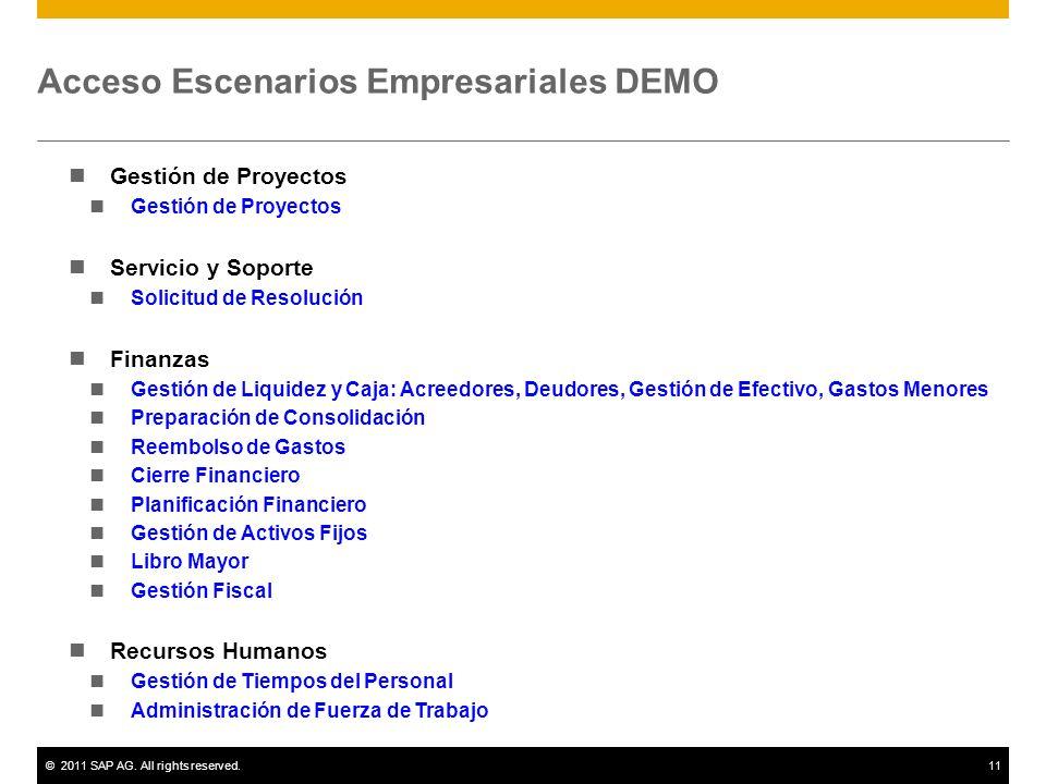 ©2011 SAP AG. All rights reserved.11 Acceso Escenarios Empresariales DEMO Gestión de Proyectos Servicio y Soporte Solicitud de Resolución Finanzas Ges